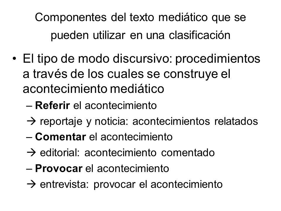 Componentes del texto mediático que se pueden utilizar en una clasificación