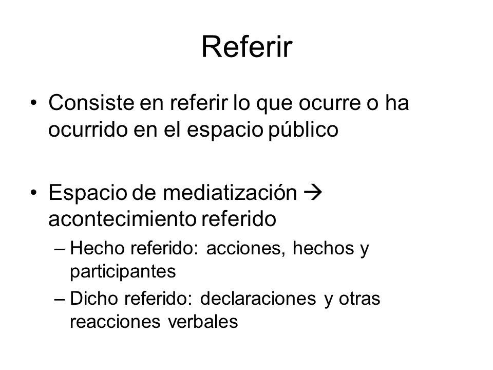 Referir Consiste en referir lo que ocurre o ha ocurrido en el espacio público. Espacio de mediatización  acontecimiento referido.