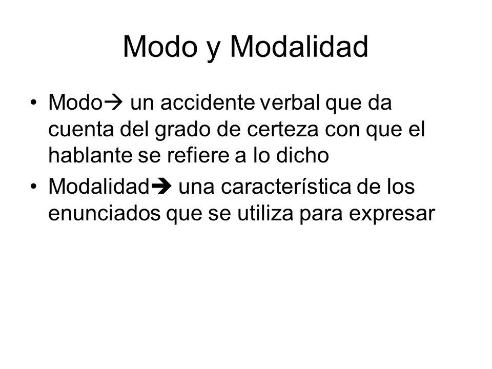 Modo y Modalidad Modo un accidente verbal que da cuenta del grado de certeza con que el hablante se refiere a lo dicho.