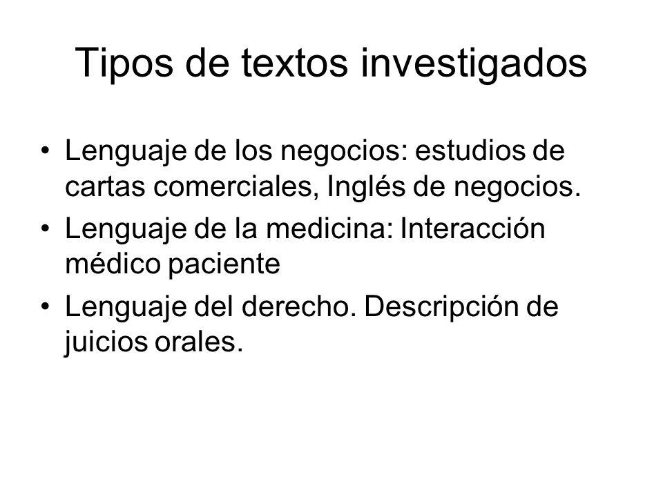 Tipos de textos investigados