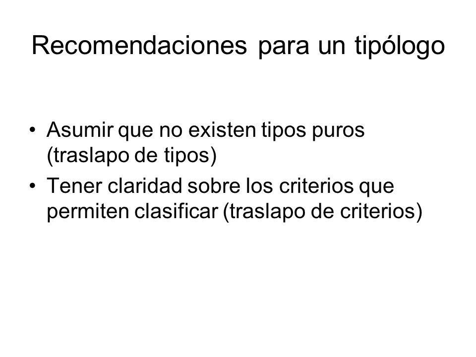 Recomendaciones para un tipólogo