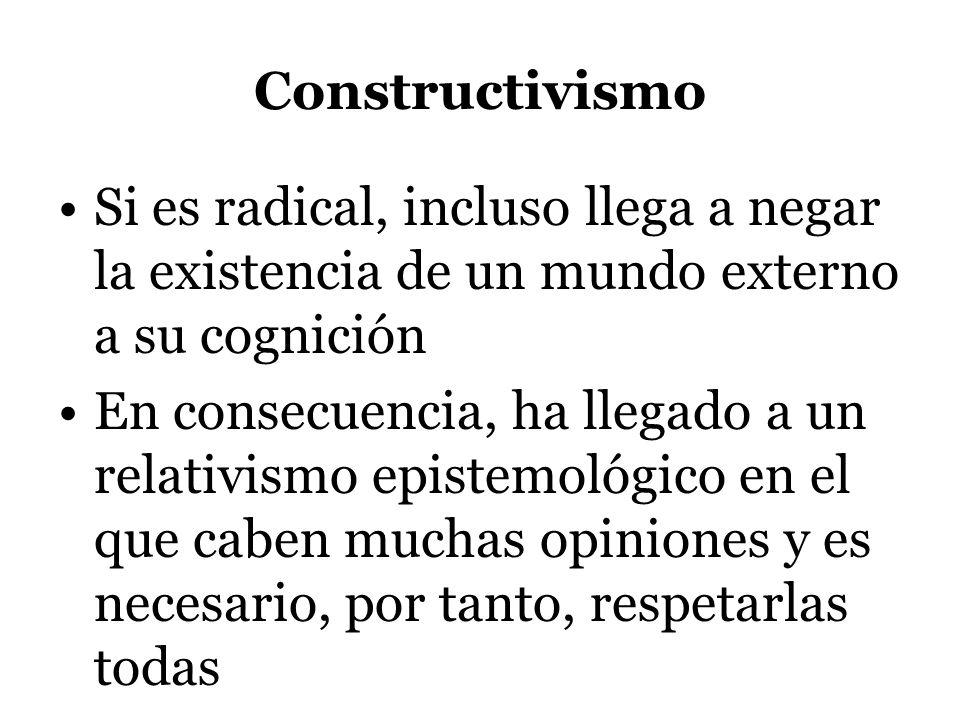 Constructivismo Si es radical, incluso llega a negar la existencia de un mundo externo a su cognición.