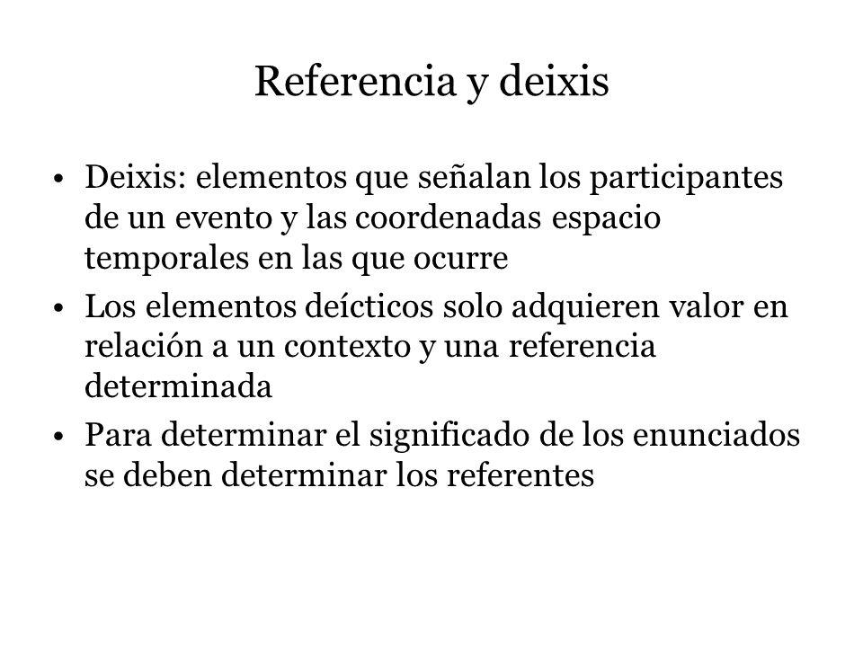 Referencia y deixis Deixis: elementos que señalan los participantes de un evento y las coordenadas espacio temporales en las que ocurre.