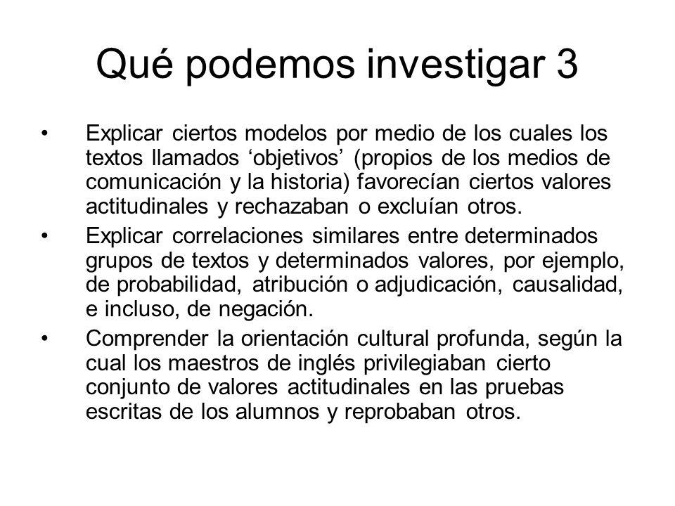Qué podemos investigar 3