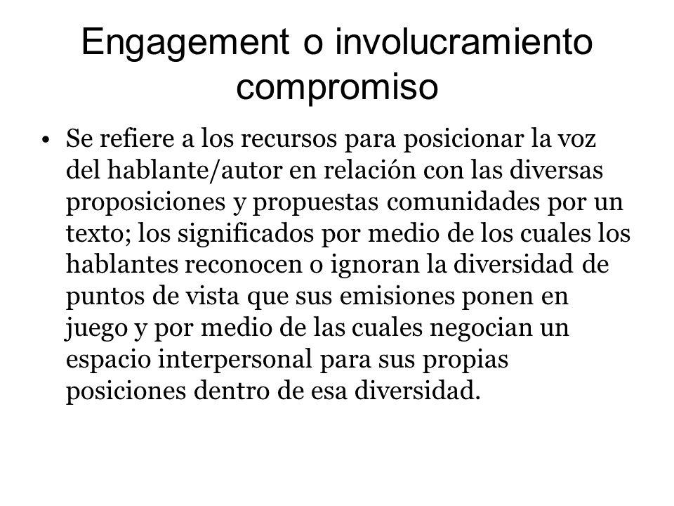 Engagement o involucramiento compromiso