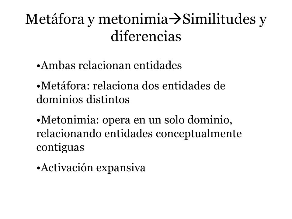 Metáfora y metonimiaSimilitudes y diferencias