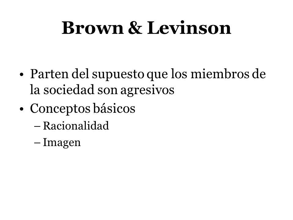 Brown & Levinson Parten del supuesto que los miembros de la sociedad son agresivos. Conceptos básicos.