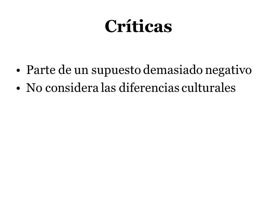 Críticas Parte de un supuesto demasiado negativo