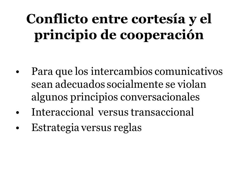 Conflicto entre cortesía y el principio de cooperación