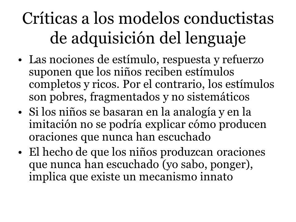 Críticas a los modelos conductistas de adquisición del lenguaje