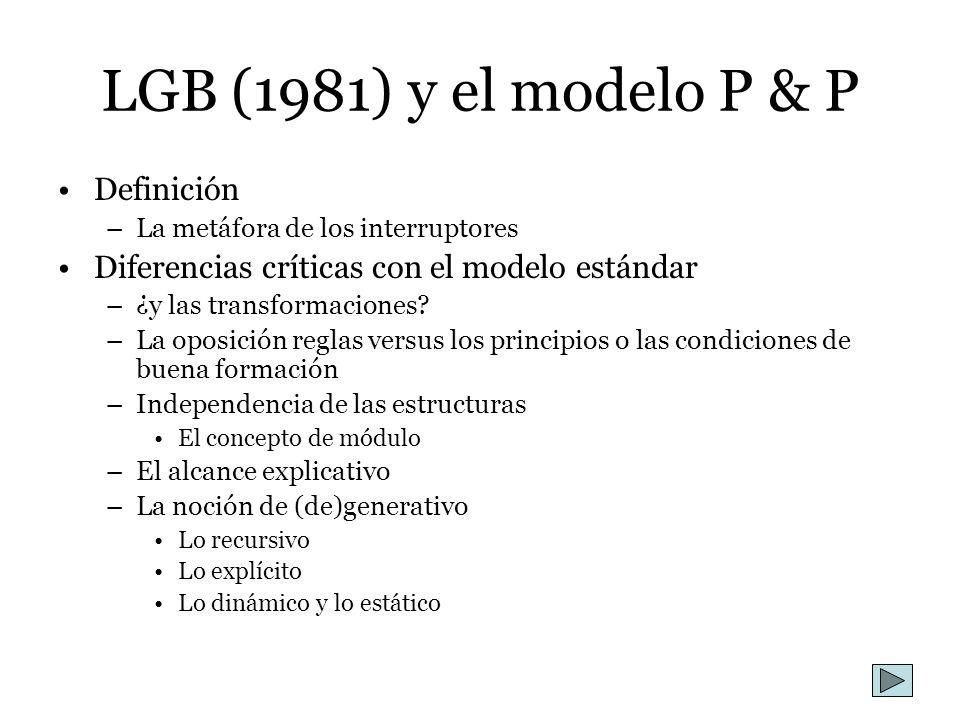 LGB (1981) y el modelo P & P Definición