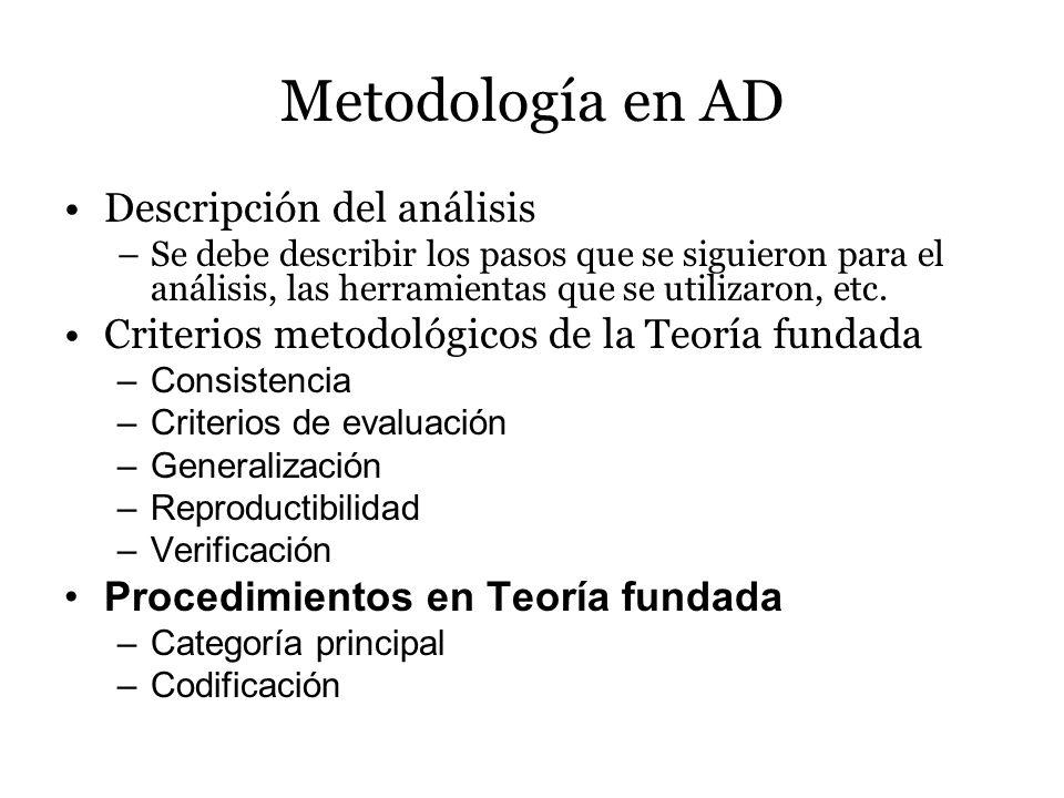 Metodología en AD Descripción del análisis