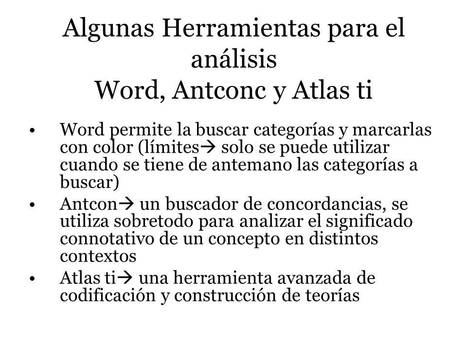 Algunas Herramientas para el análisis Word, Antconc y Atlas ti