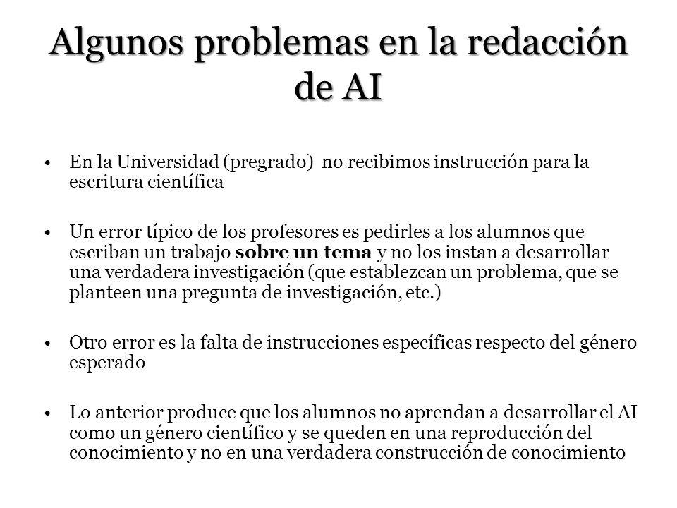 Algunos problemas en la redacción de AI