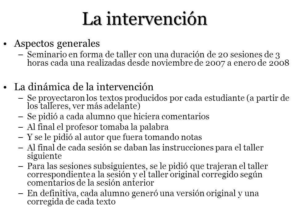 La intervención Aspectos generales La dinámica de la intervención
