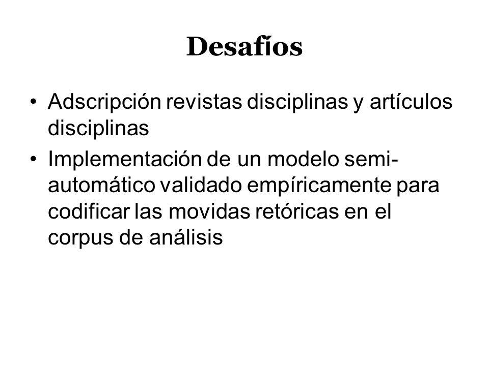Desafíos Adscripción revistas disciplinas y artículos disciplinas