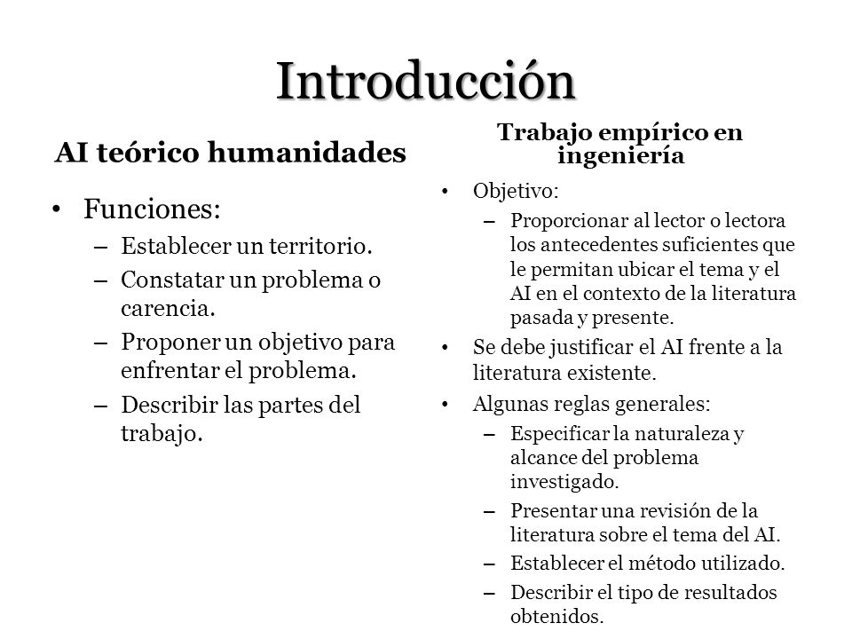 AI teórico humanidades Trabajo empírico en ingeniería