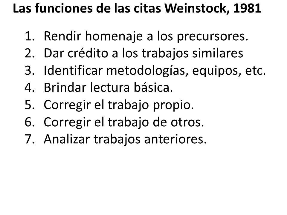 Las funciones de las citas Weinstock, 1981