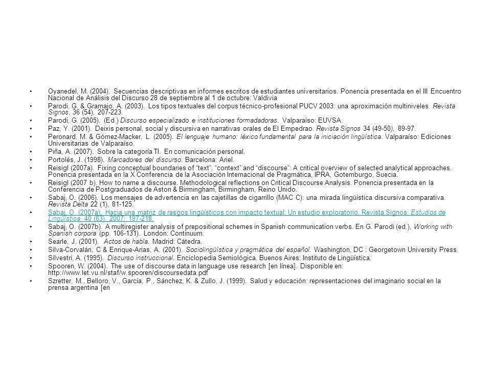 Oyanedel, M. (2004). Secuencias descriptivas en informes escritos de estudiantes universitarios. Ponencia presentada en el III Encuentro Nacional de Análisis del Discurso 28 de septiembre al 1 de octubre: Valdivia