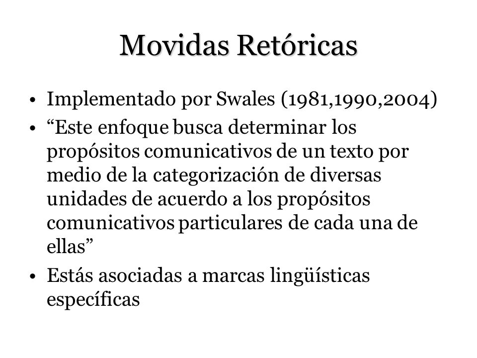 Movidas Retóricas Implementado por Swales (1981,1990,2004)