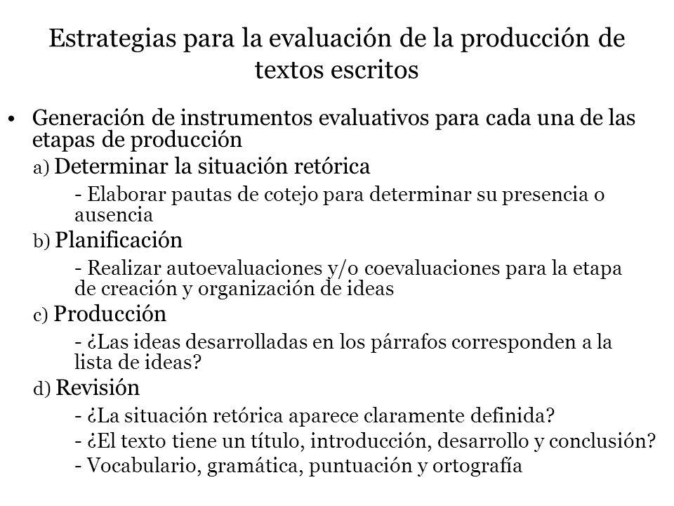 Estrategias para la evaluación de la producción de textos escritos