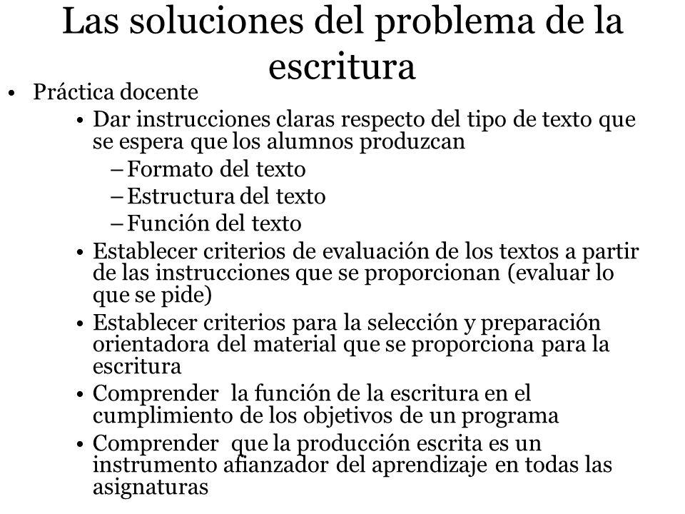 Las soluciones del problema de la escritura