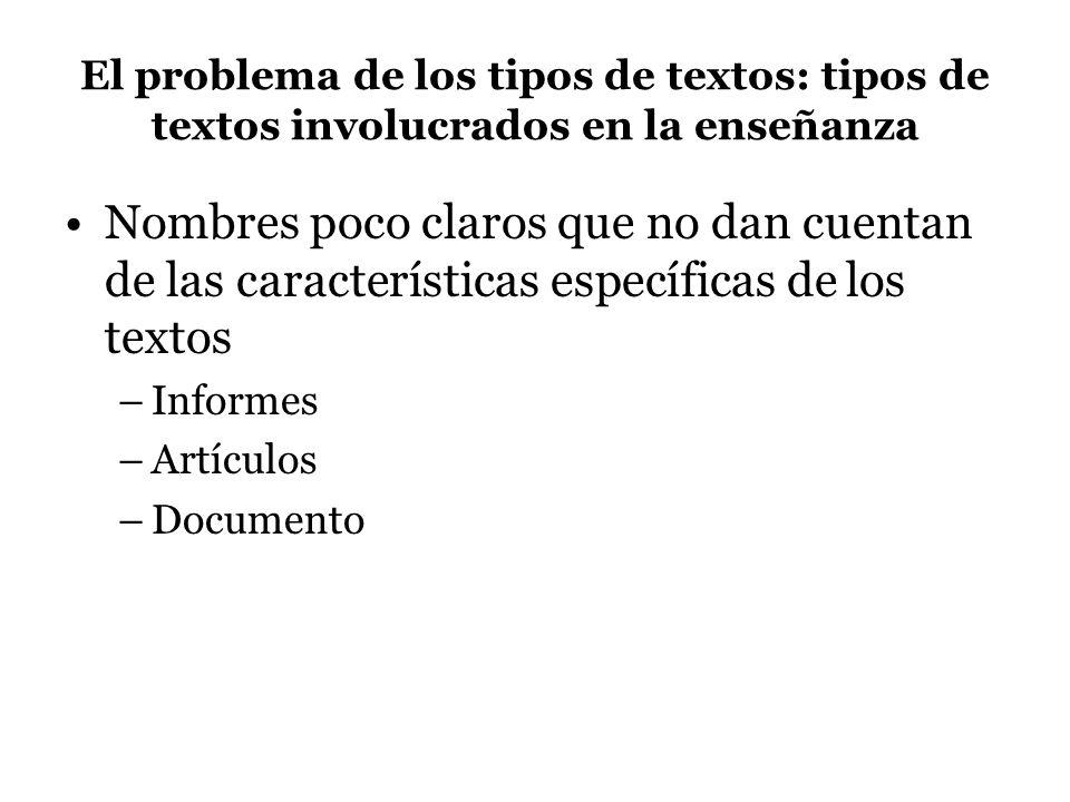 El problema de los tipos de textos: tipos de textos involucrados en la enseñanza