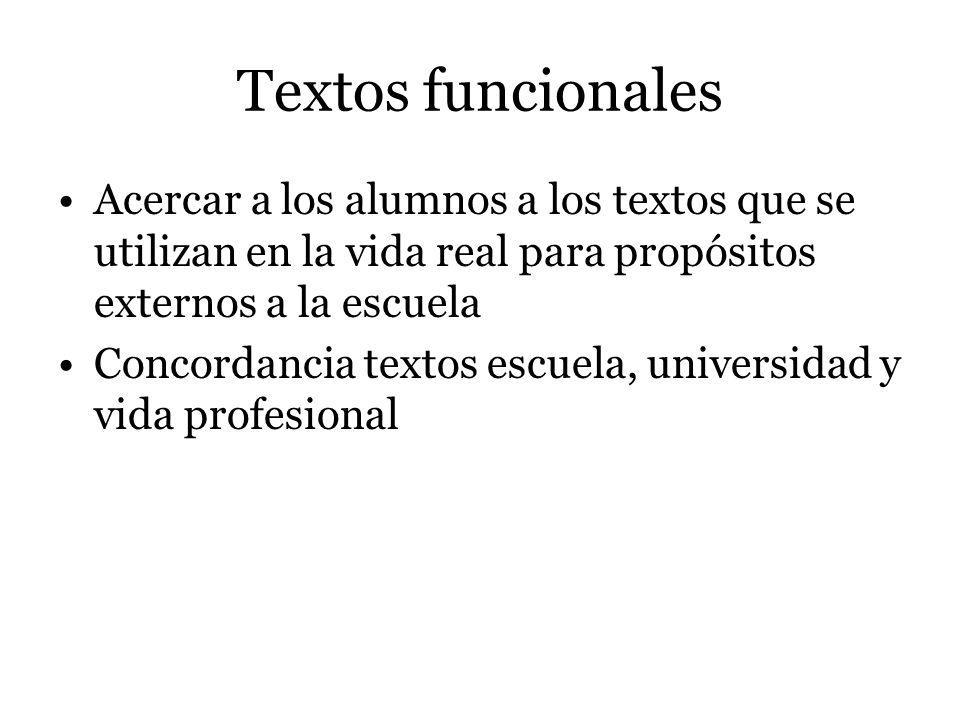 Textos funcionales Acercar a los alumnos a los textos que se utilizan en la vida real para propósitos externos a la escuela.