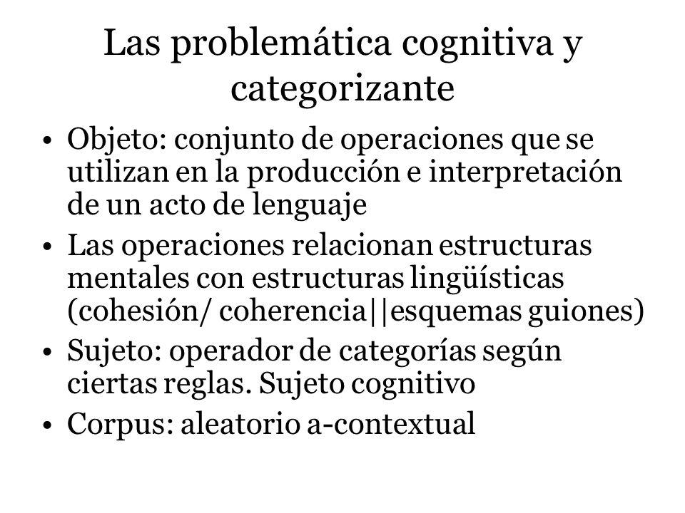 Las problemática cognitiva y categorizante