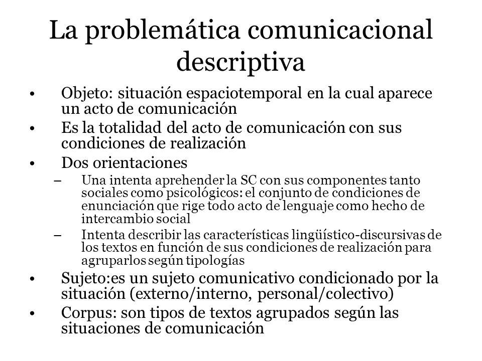 La problemática comunicacional descriptiva