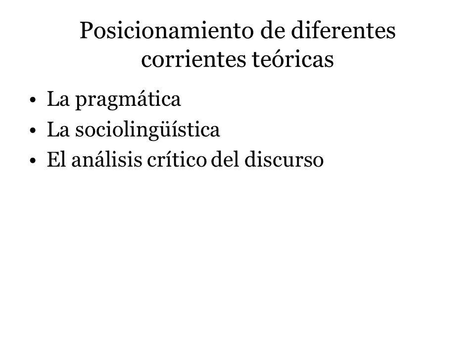 Posicionamiento de diferentes corrientes teóricas