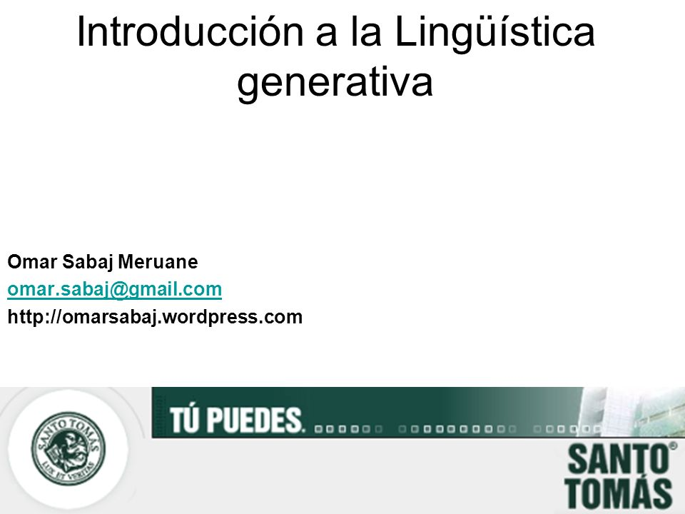 Introducción a la Lingüística generativa