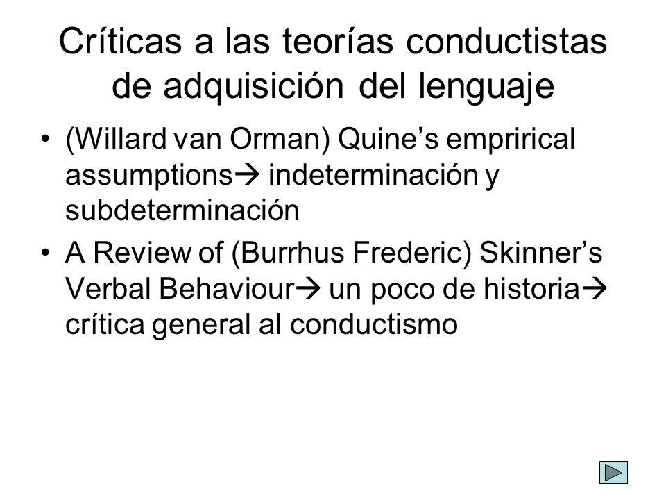 Críticas a las teorías conductistas de adquisición del lenguaje