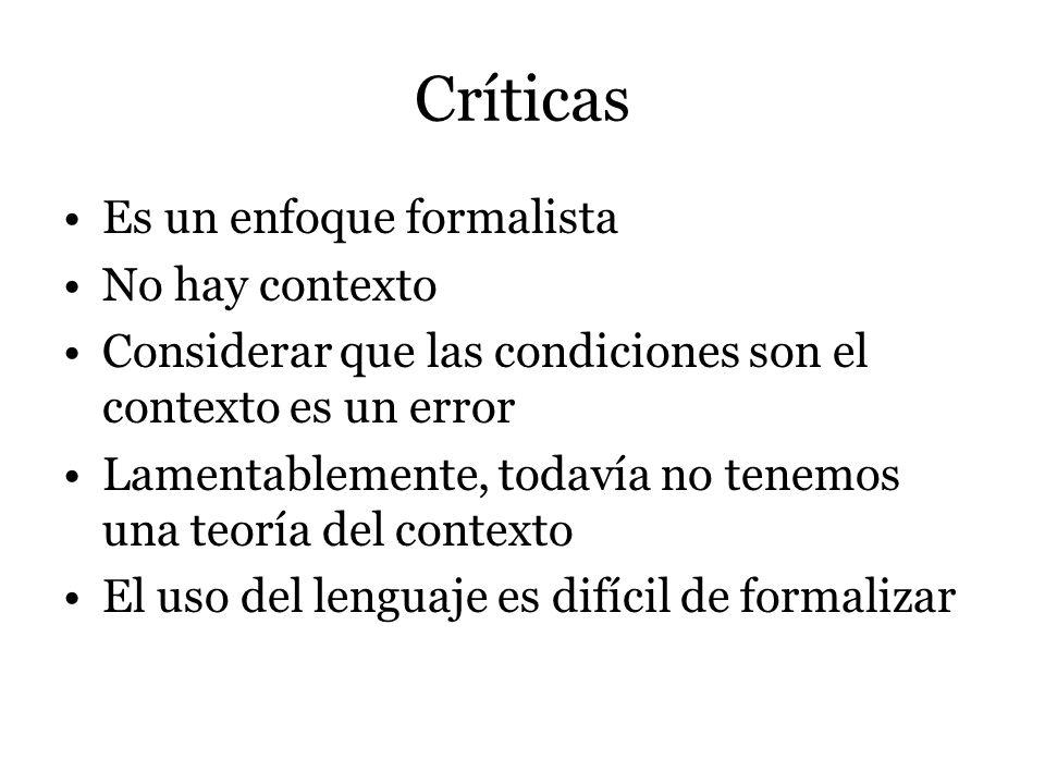 Críticas Es un enfoque formalista No hay contexto