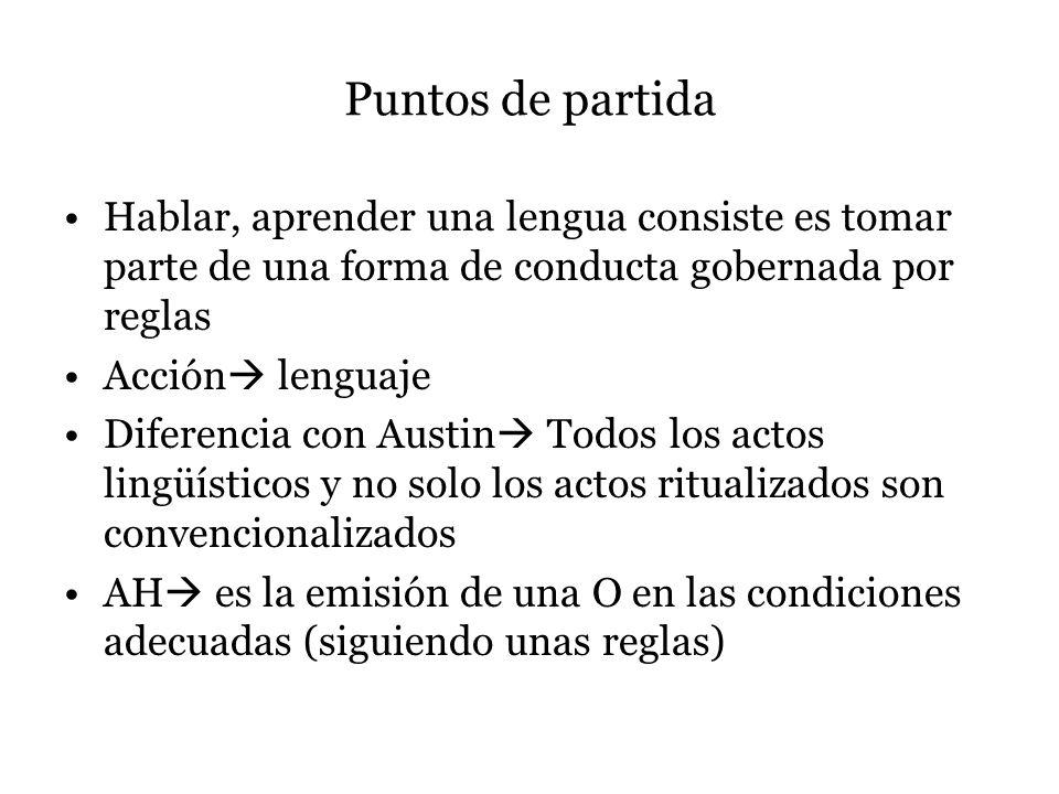Puntos de partidaHablar, aprender una lengua consiste es tomar parte de una forma de conducta gobernada por reglas.