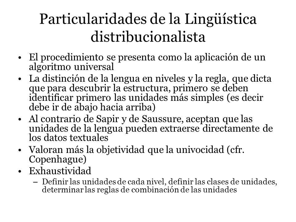 Particularidades de la Lingüística distribucionalista