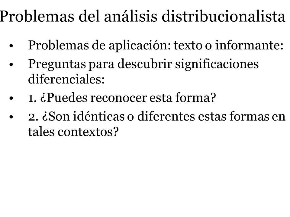 Problemas del análisis distribucionalista