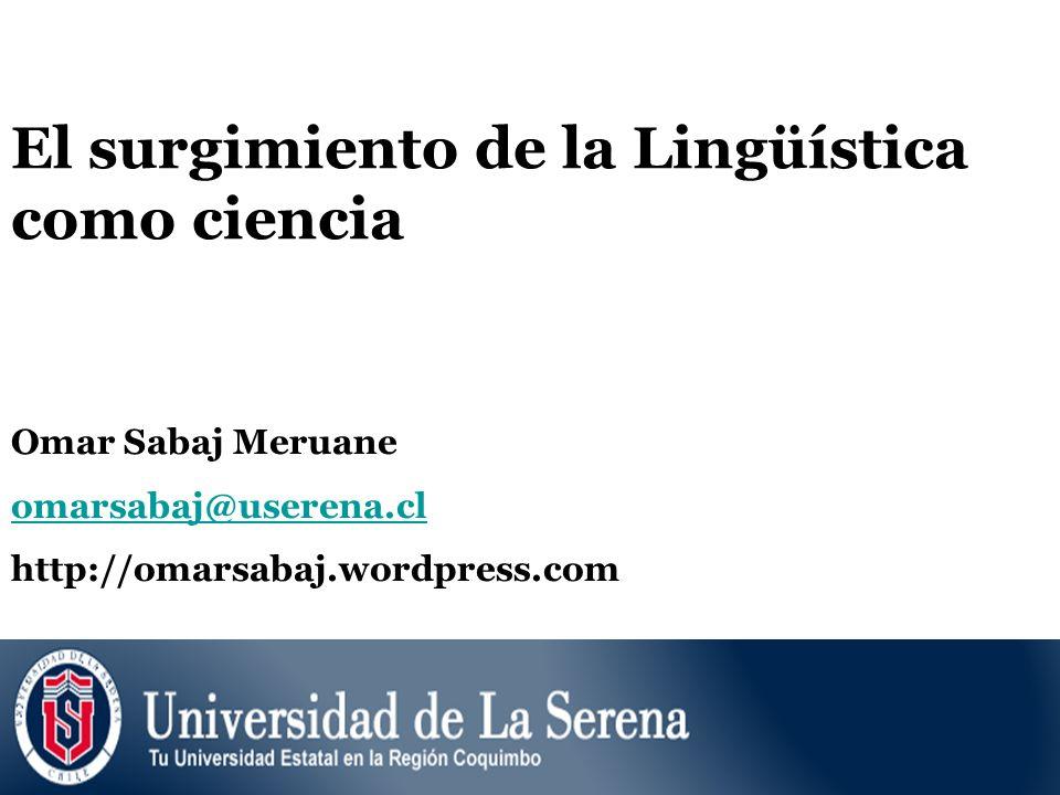 El surgimiento de la Lingüística como ciencia