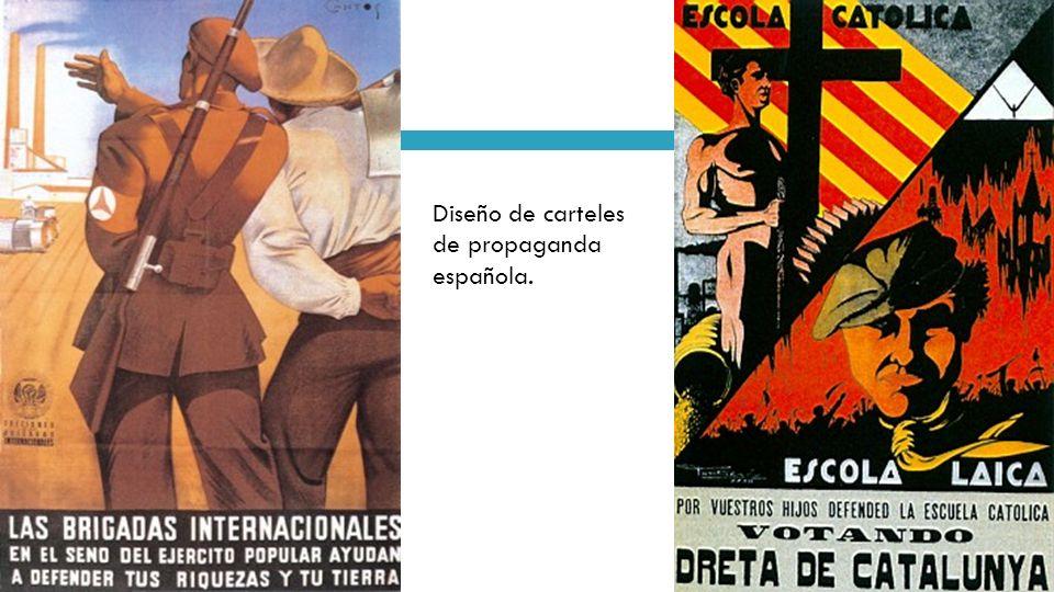 Diseño de carteles de propaganda española.