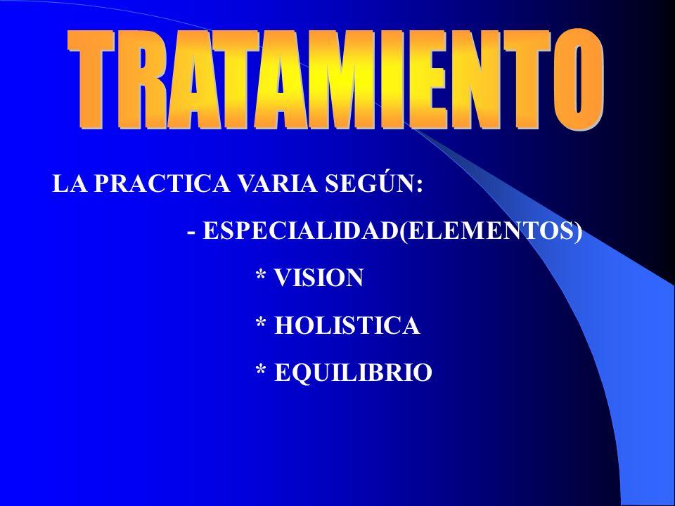 TRATAMIENTO LA PRACTICA VARIA SEGÚN: - ESPECIALIDAD(ELEMENTOS)