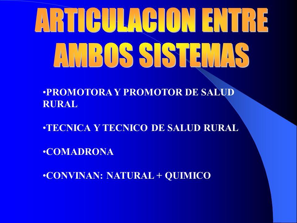 ARTICULACION ENTRE AMBOS SISTEMAS PROMOTORA Y PROMOTOR DE SALUD RURAL