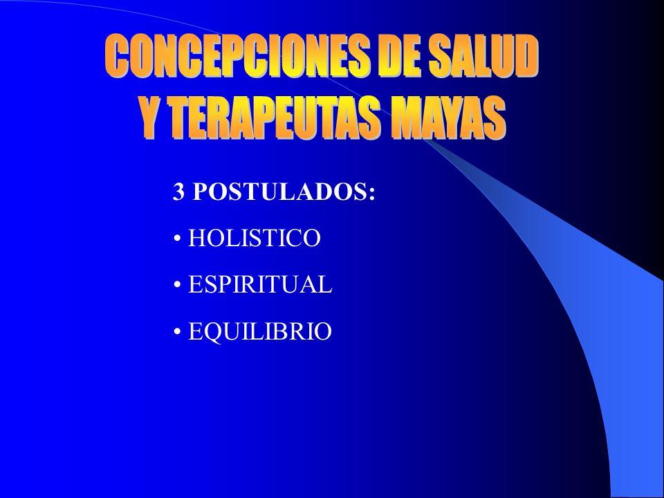 CONCEPCIONES DE SALUD Y TERAPEUTAS MAYAS 3 POSTULADOS: HOLISTICO