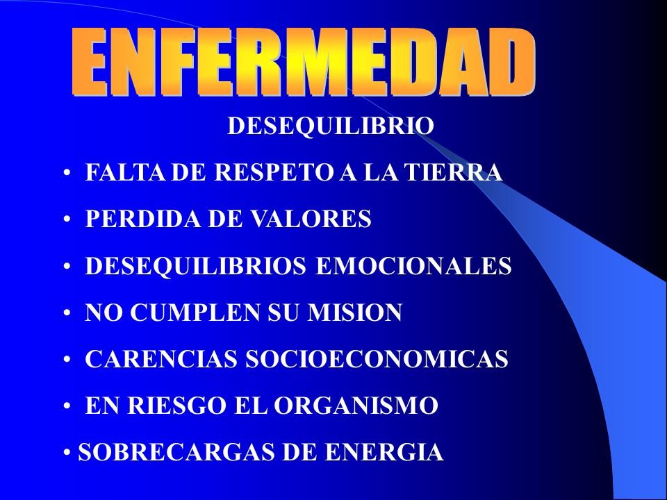 ENFERMEDAD DESEQUILIBRIO FALTA DE RESPETO A LA TIERRA