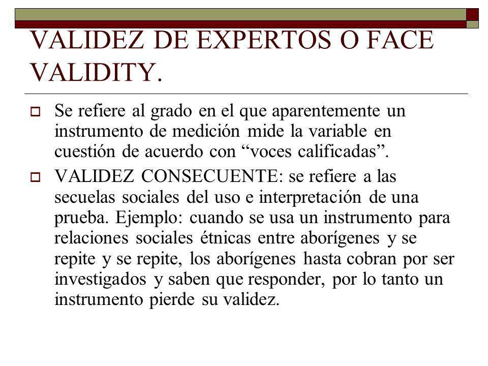 VALIDEZ DE EXPERTOS O FACE VALIDITY.