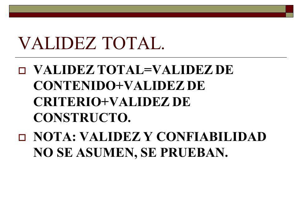 VALIDEZ TOTAL.VALIDEZ TOTAL=VALIDEZ DE CONTENIDO+VALIDEZ DE CRITERIO+VALIDEZ DE CONSTRUCTO.