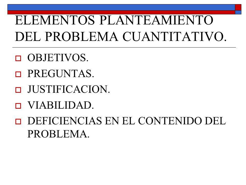 ELEMENTOS PLANTEAMIENTO DEL PROBLEMA CUANTITATIVO.