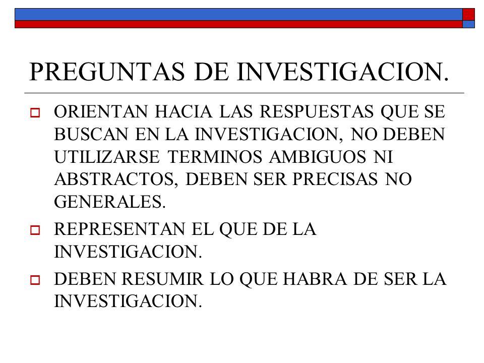 PREGUNTAS DE INVESTIGACION.