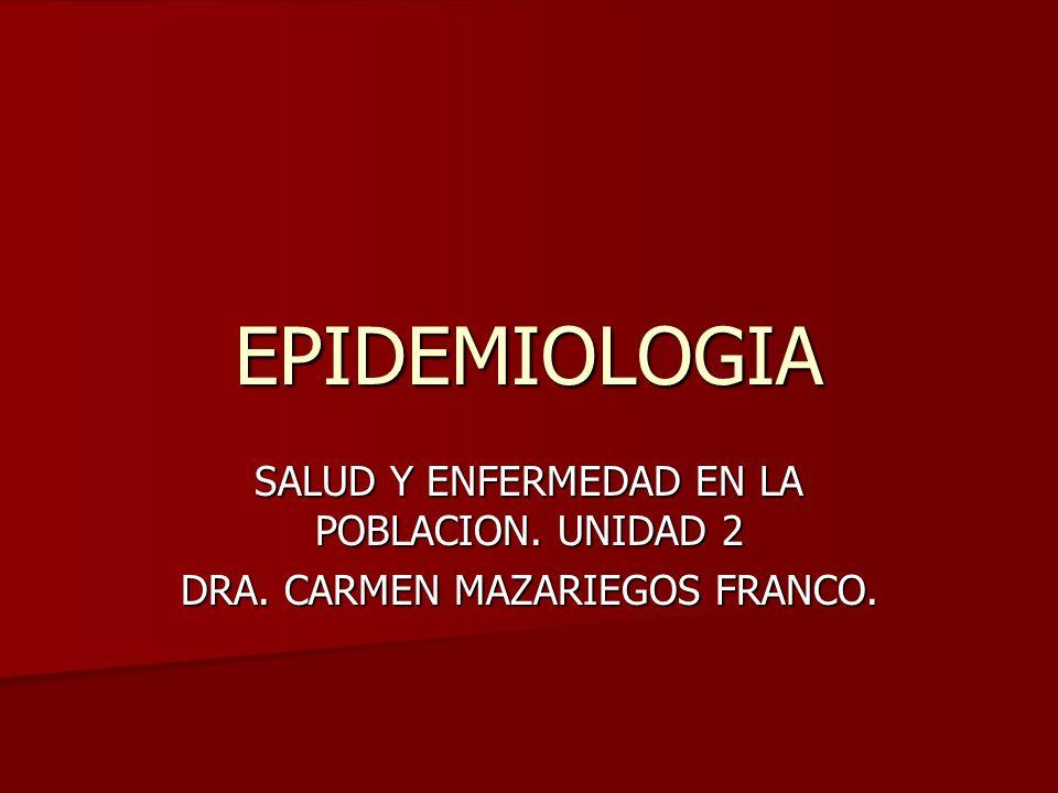 EPIDEMIOLOGIA SALUD Y ENFERMEDAD EN LA POBLACION. UNIDAD 2