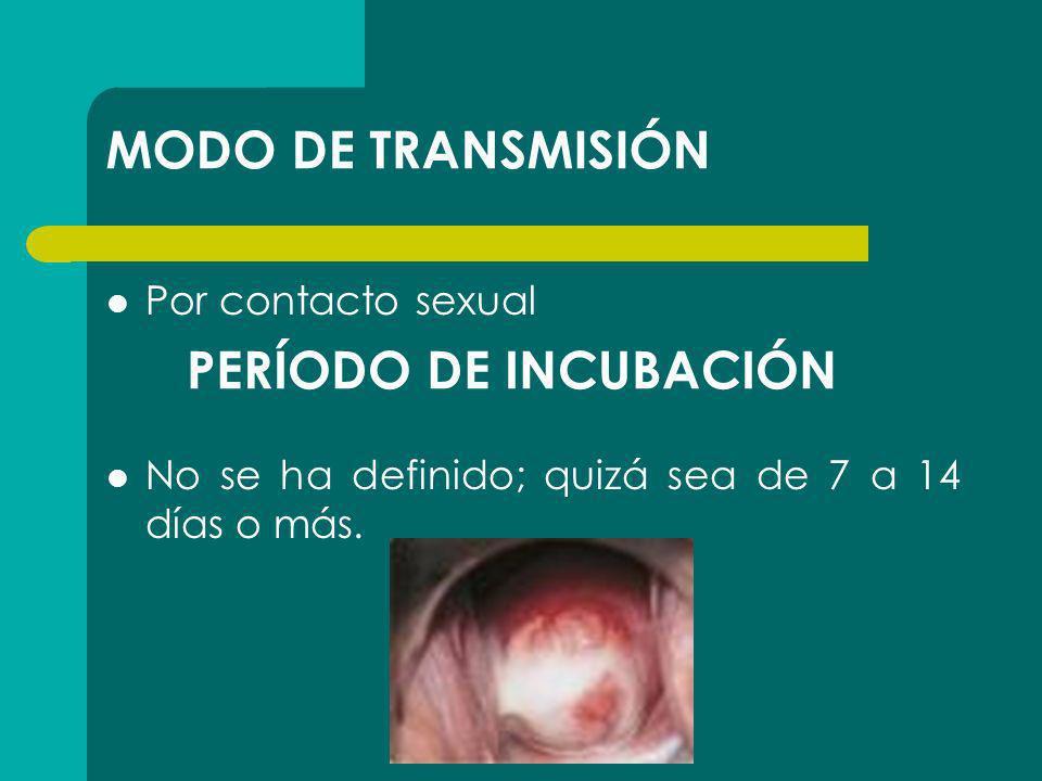 MODO DE TRANSMISIÓN PERÍODO DE INCUBACIÓN Por contacto sexual