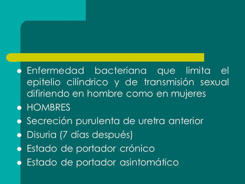 Enfermedad bacteriana que limita el epitelio cilíndrico y de transmisión sexual difiriendo en hombre como en mujeres